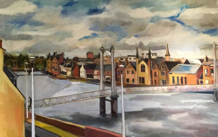 Inverness - Painting,  100x150x5 cm ©2019 by Rosemary Bonnin -                                                        Contemporary painting, Canvas, Architecture