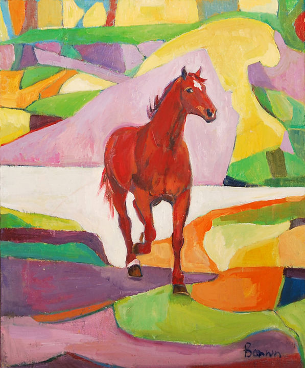 """Elegance"" Horse Oil Paintings by Rosemary Bonnin - Painting,  47x39 cm ©2013 by Rosemary Bonnin -                            Abstract Expressionism, abstract horse paintings"