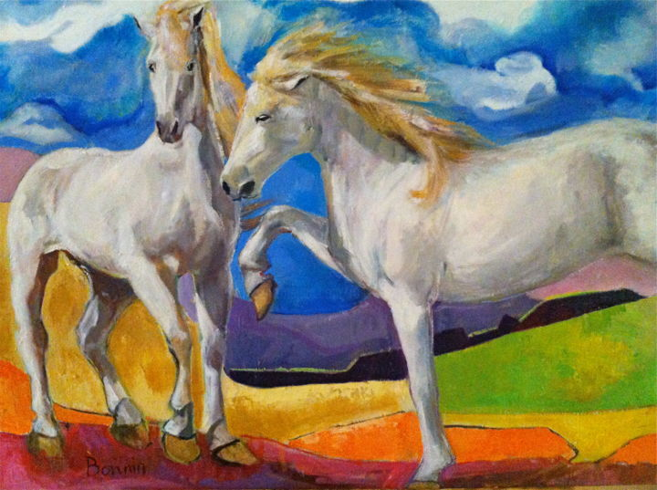 """Angels of Camargue"" Horse Oil Painting by Rosemary Bonnin - © 2013 abstract horse paintings Online Artworks"