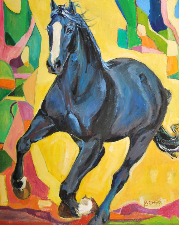 """Dark Blue"" Horse Oil Paintings by Rosemary Bonnin - Painting,  62x51 cm ©2013 by Rosemary Bonnin -                            Abstract Expressionism, abstract horse paintings"