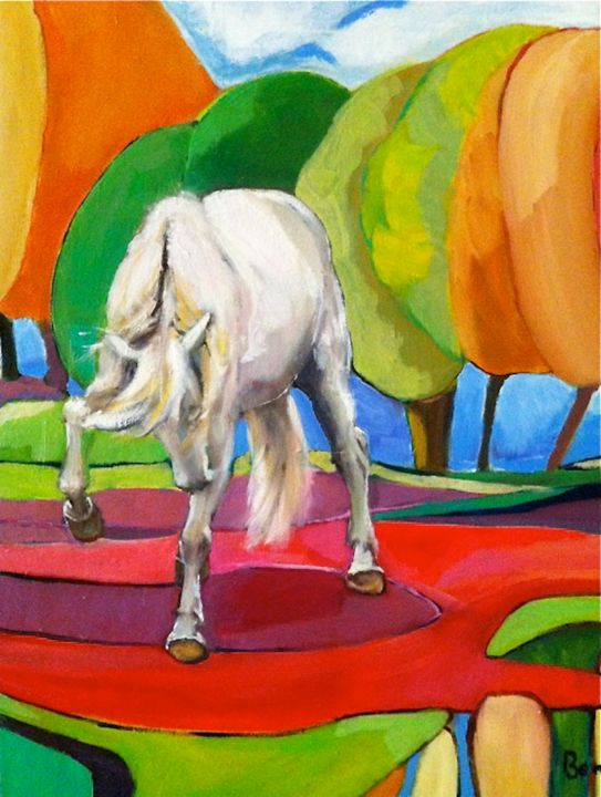 """""""Submission"""" Horse Oil Paintings by Rosemary Bonnin - Painting,  55x45 cm ©2013 by Rosemary Bonnin -                            Abstract Expressionism, abstract horse paintings"""
