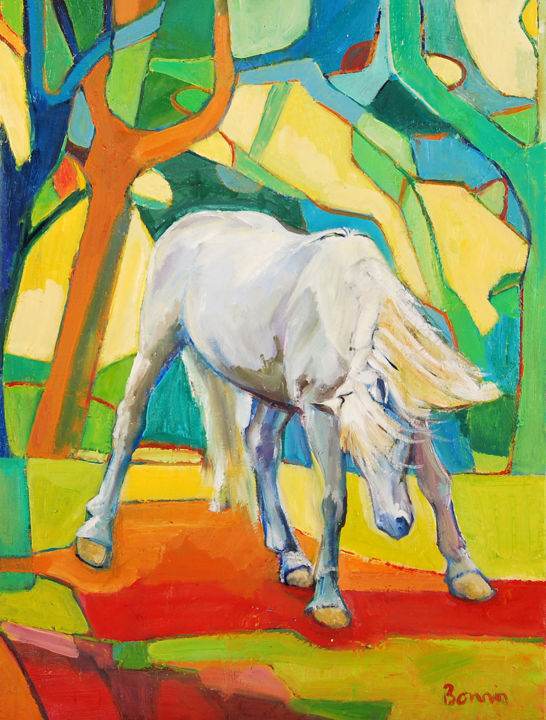 """""""Refusal"""" Horse Oil Paintings by Rosemary Bonnin - © 2013 abstract horse paintings Online Artworks"""