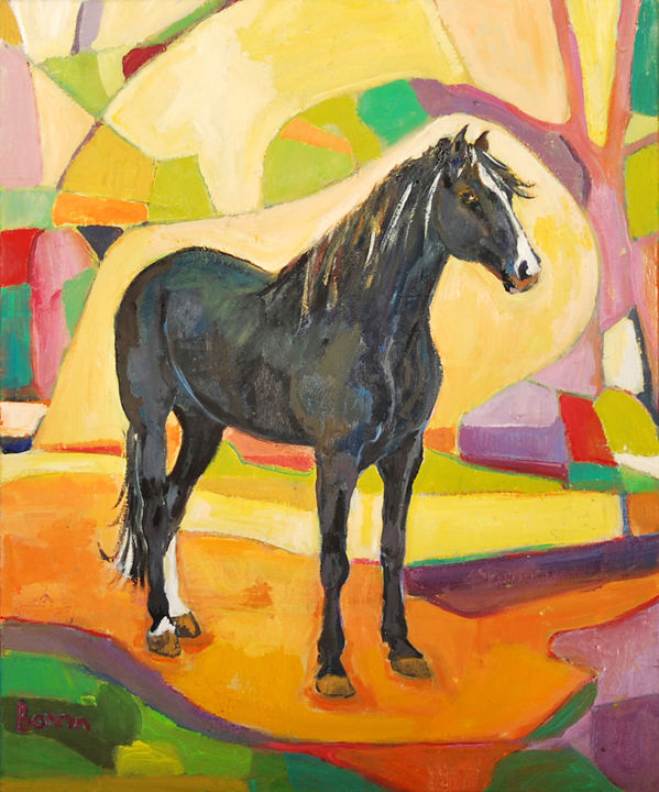 """Welsh cob"" Horse Oil Paintings by Rosemary Bonnin - © 2013 abstract horse paintings Online Artworks"