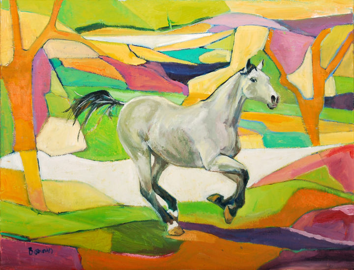 """Grey"" Horse Oil  Paintings by Rosemary Bonnin - Painting,  51x66 cm ©2013 by Rosemary Bonnin -                            Abstract Expressionism, abstract horse paintings"