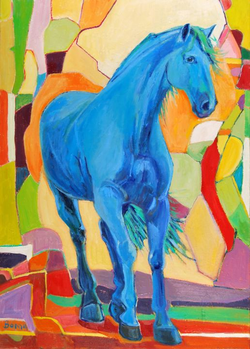 """Unsure"" Horse Oil Paintings by Rosemary Bonnin - © 2013 abstract horse paintings Online Artworks"