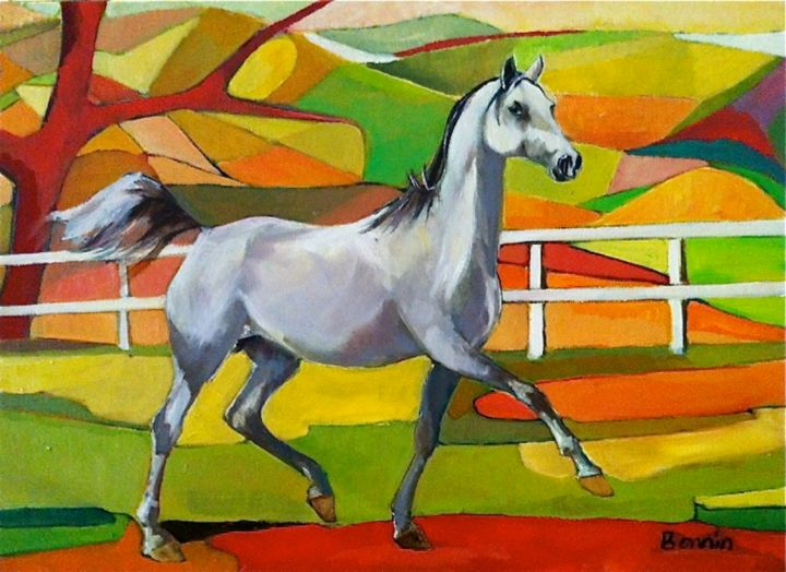 """Beauty"" Horse Oil Paintings by Rosemary Bonnin - Painting,  19x27 in ©2013 by Rosemary Bonnin -                            Abstract Expressionism, abstract horse paintings"