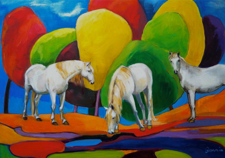 """Hanging Out"" Horse Oil Paintings by Rosemary Bonnin - Painting,  69x59 cm ©2013 by Rosemary Bonnin -                            Abstract Expressionism, abstract horse paintings"