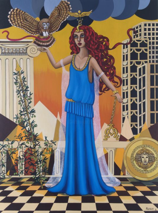 """Painting titled """"Athena"""" by Rosie Harper, Original Art, Oil Mounted on Stretcher frame"""