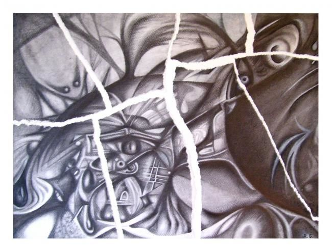 """Drawing titled """"""""Rompimiento"""""""" by Rosina Guardia, Original Art,"""