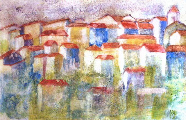 Ramatuelle - Painting,  15.8x23.6 in, ©2009 by Michèle Rossetto -