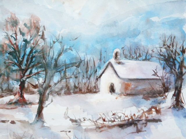 Petite Chapelle - Painting,  11.8x15.8 in, ©2010 by Michèle Rossetto -