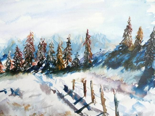 Jura en hiver - Painting,  9.5x12.6 in, ©2010 by Michèle Rossetto -