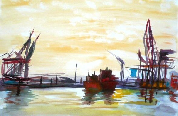 Port d'anvers - Painting,  60x40 cm ©2010 by Michèle Rossetto -
