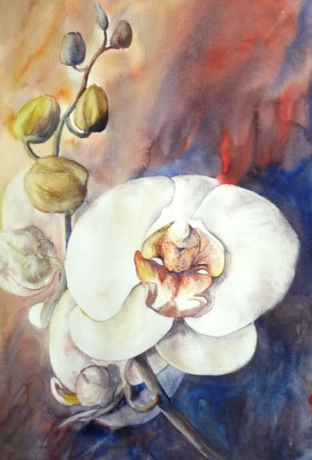 Orchidée - Painting,  56x38 cm ©2010 by Michèle Rossetto -