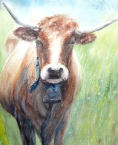 Vache d'aubrac - Painting,  15.8x11.8 in, ©2010 by Michèle Rossetto -