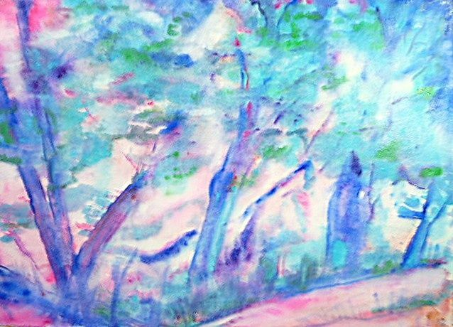 Forêt turquoise - Painting,  19.7x27.6 in, ©2010 by Michèle Rossetto -