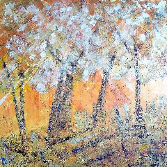 Carré d'arbre 2 - Painting,  100x100 cm ©2010 by Michèle Rossetto -