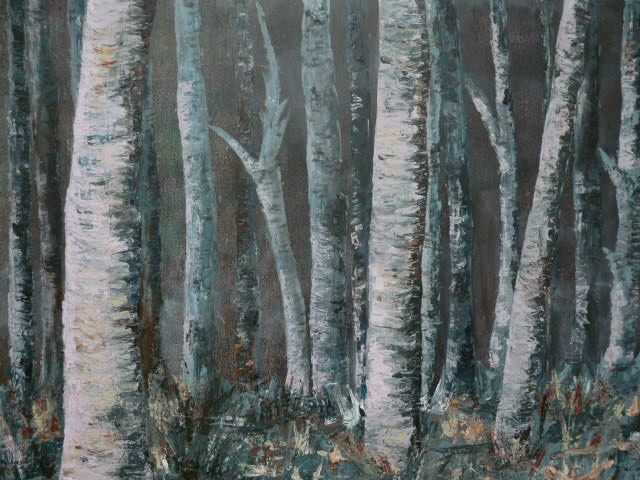 Forêt de bouleaux - Painting,  23.6x31.5 in, ©2010 by Michèle Rossetto -