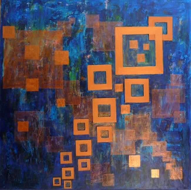 Carré bleu - Painting,  39.4x39.4 in, ©2010 by Michèle Rossetto -