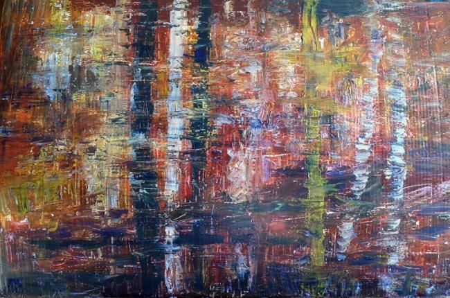 reflets d'automne - Painting,  112x72 cm ©2010 by Michèle Rossetto -                        Abstract Art