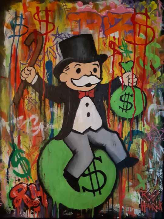 """Painting titled """"Mr Monopoly"""" by Ross Hendrick, Original Art, Acrylic"""