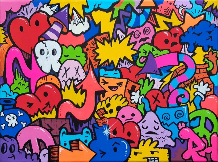 """Painting titled """"Doodle Pop"""" by Ross Hendrick, Original Art, Acrylic"""