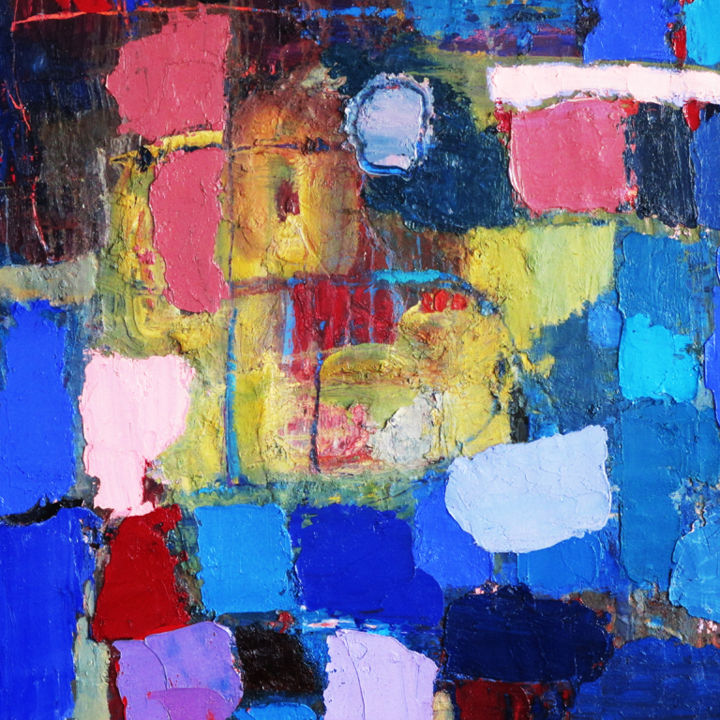 The Yard - Painting,  33x33x0.4 in, ©2013 by Roberto Rotondo -                                                                                                                                                                          Abstract, abstract-570, abstract painting