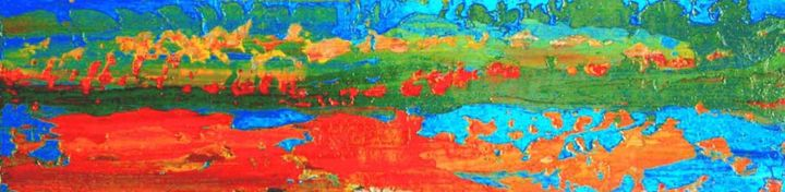 9.8.94 - Painting,  8.7x35.4x0.4 in, ©2013 by Roberto Rotondo -                                                              abstract landscape