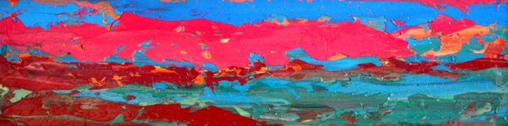 Prairie Sundown - Painting,  8.7x35.4x0.4 in, ©2013 by Roberto Rotondo -                                                              abstract landscape