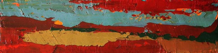 The Sun Was Westering - Painting,  8.7x35.4x0.4 in, ©2013 by Roberto Rotondo -                                                              abstract landscape