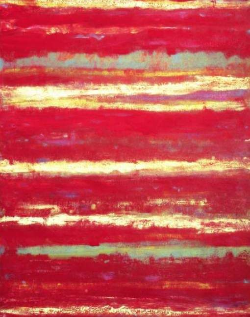 Fields of Red - Painting,  35.4x31.5 in, ©2019 by Roberto Rotondo -