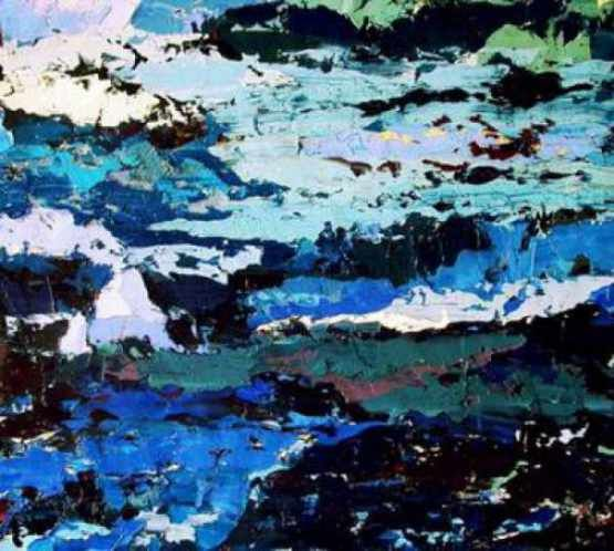 Blue Morning - Painting,  35.4x39.4 in, ©2015 by Roberto Rotondo -