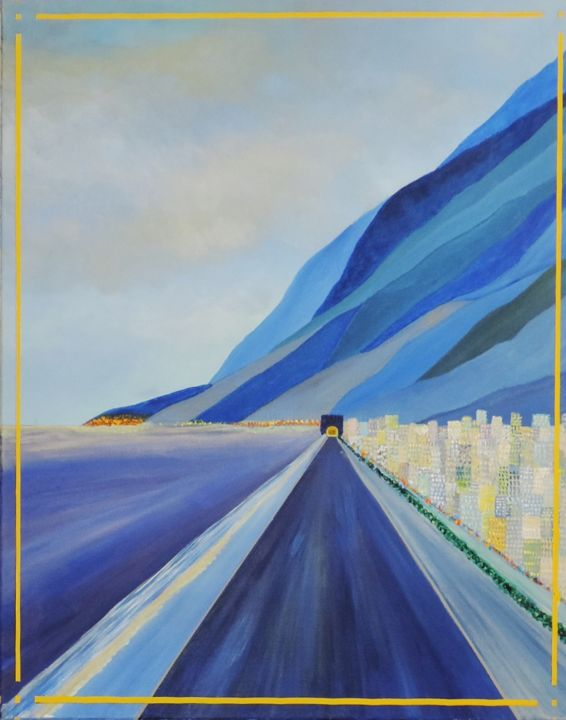 Sur la route de San Francisco, - Painting,  92x73x2.5 cm ©1992 by Jean Daniel ROUSSEAU -                                            Figurative Art, Canvas, ART116