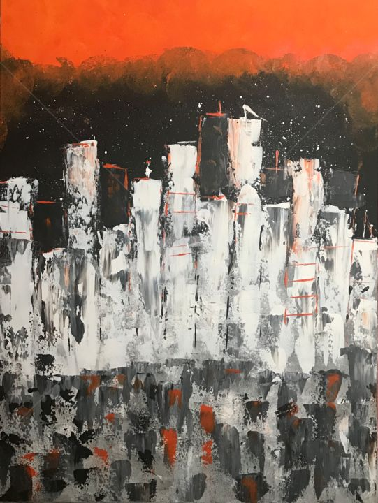 New York Skylines - Painting,  80x60x2 cm ©2018 by Artstation Roxani Rohner -                                                        Abstract Art, Canvas, Abstract Art