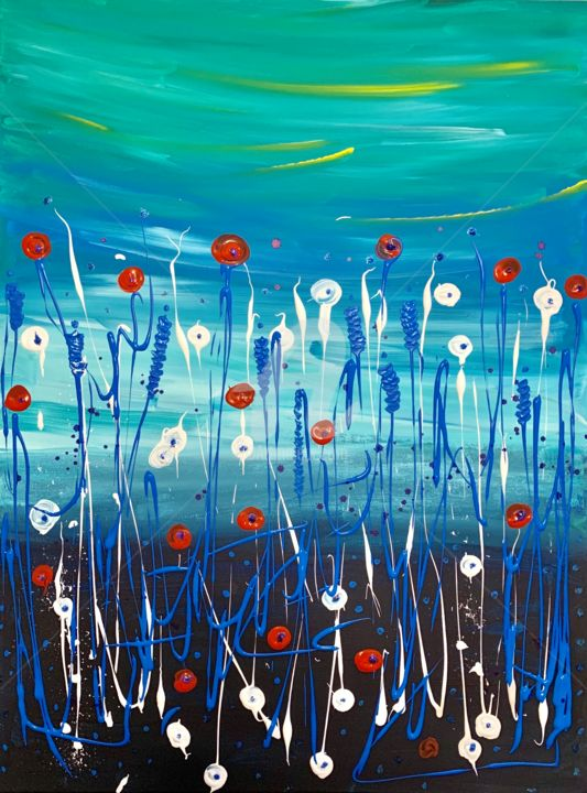 Red and White flowers flying high - Painting,  80x60x2 cm ©2019 by Roxani Rohner -                                        Abstract Art, Canvas