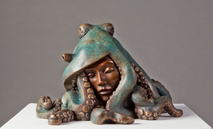 """Sculpture titled """"Octopussy"""" by Rossella Scapini, Original Art, Bronze"""