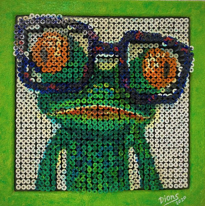 """Sculpture titled """"Frog with glasses"""" by Radion Palamarchuk, Original Art, Acrylic"""