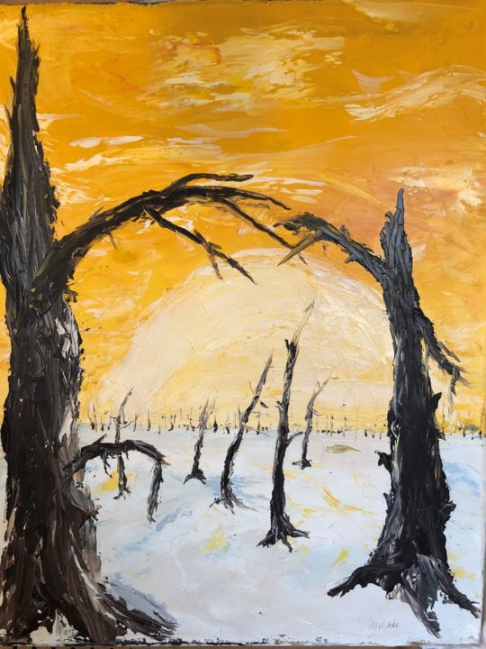 """Painting titled """"Winter Sky"""" by Ralph S Mitchell, Original Art, Oil"""