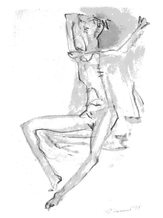 """Drawing titled """"Nude"""" by Romen Stoilov, Original Art, Other"""