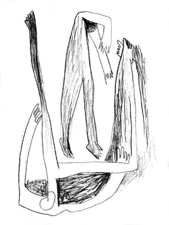 """Drawing titled """"Figures"""" by Romen Stoilov, Original Art, Other"""