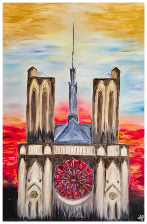 Notre Dame is alive - © 2019 Масло, Холст, Картина, Notre Dame, Импрессионизм Online Artworks