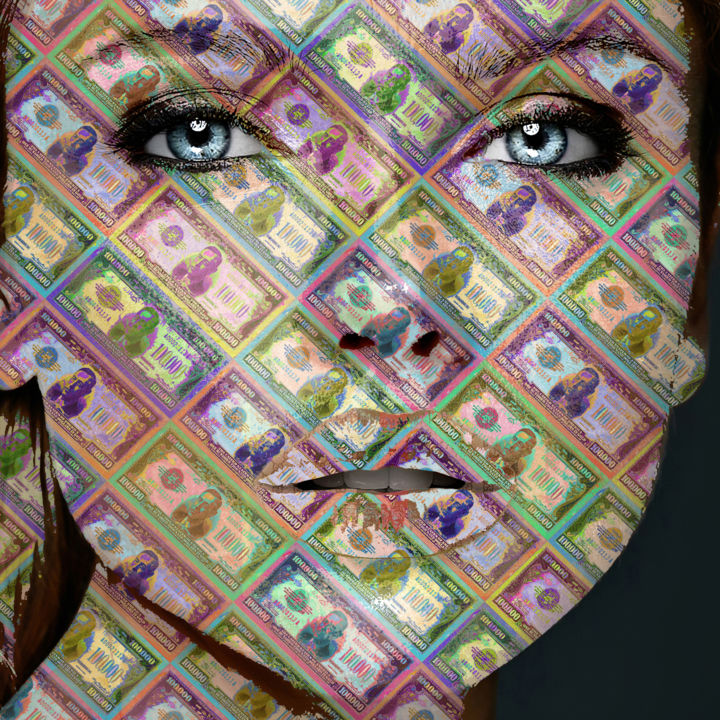 """Painting titled """"Money Woman Face"""" by Tony Rubino, Original Art, Acrylic Mounted on Stretcher frame"""