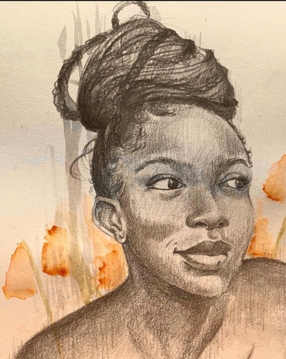 """Drawing titled """"'Before my morning…"""" by Ruby Ogbiti, Original Art, Pencil"""