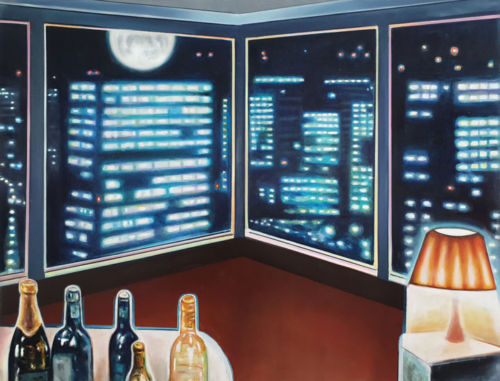 """Painting titled """"AFTER HOUR"""" by Rudi Cotroneo, Original Art, Oil"""