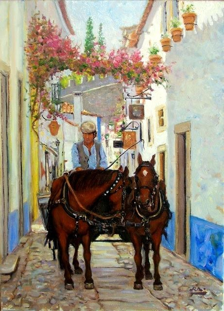 Charrette - Óbidos - óleo s/ tela  -  Chariot - Óbidos - oil on canvas - Painting,  46x33 cm ©2007 by Rui Albuquerque -                            Figurative Art, Horses, oil painting