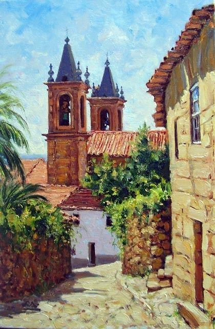 Igreja de Alpedrinha - óleo s/ tela  -  Church of Alpedrinha - oil on canvas - Painting,  41x27 cm ©2007 by Rui Albuquerque -                        Figurative Art