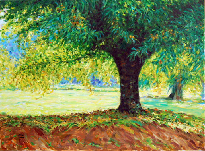 O Castanheiro - óleo s/tela  -  The Chestnut Tree - oil on canvas - Painting,  60x81 cm ©2008 by Rui Albuquerque -                            Figurative Art, Paintings, Impressionism, Landscapes, Oil Paintings, Pleinair