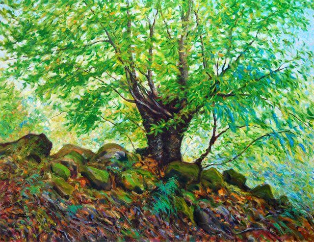 A Chegada do Outono  // The Begening of Autumn - Painting,  100x73 cm ©2009 by Rui Albuquerque -                            Figurative Art, Forest in begening of Autumn