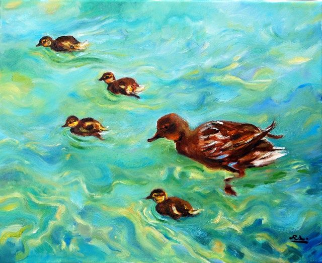 Patos - óleo s/ tela  //  Offspring - oil on canvas - Painting,  41x33 cm ©2009 by Rui Albuquerque -                        Figurative Art