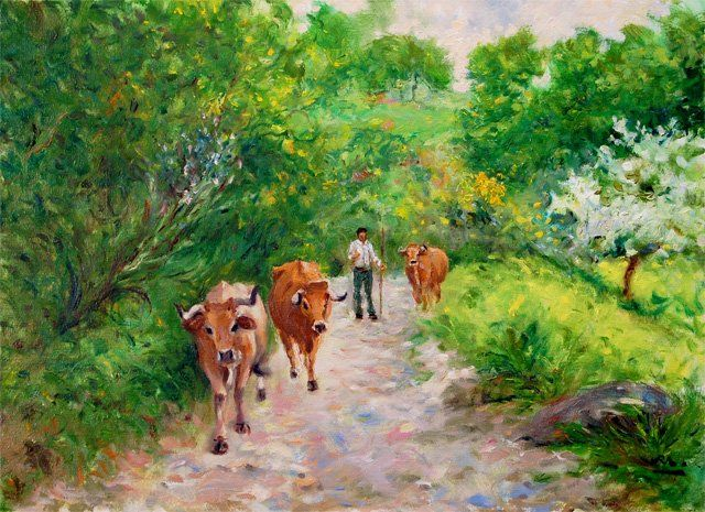 Regresso a Casa - óleo s/ tela  //  On the way home - oil on canvas - Painting,  33x46 cm ©2010 by Rui Albuquerque -                        Figurative Art